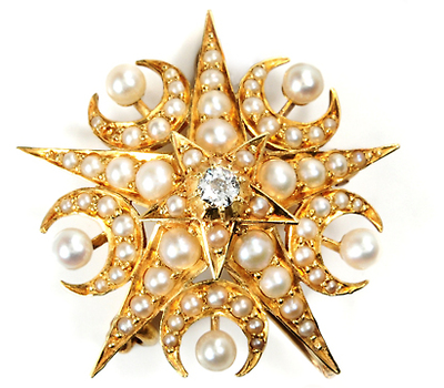 Stars and Moons in an Art Deco Brooch Pendant