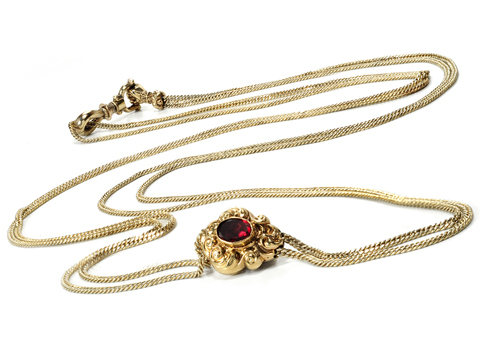 Victorian Garnet Slide Necklace with Hand Clasp