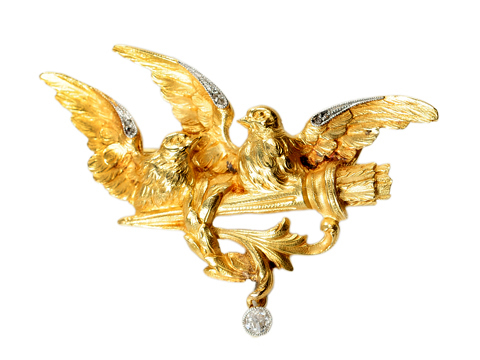 Birds of  a Feather - Edwardian 18k Brooch