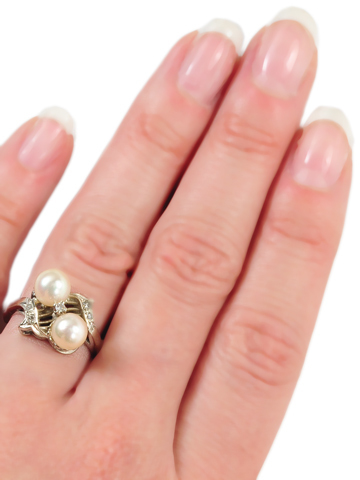 Opposing Forces: 20th C. Diamond & Pearl Ring