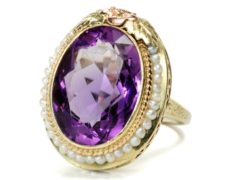 Impressive Early 20th C. Amethyst Pearl Ring