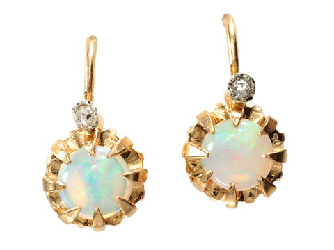 French Opal Diamond Baby Earrings