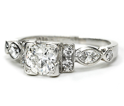 Art Deco Old European Cut Diamond Platinum Ring