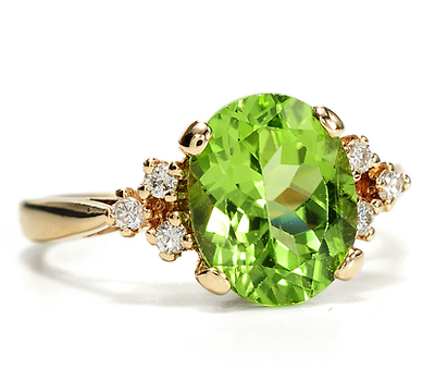 Drop of Dew: Peridot & Diamond Ring