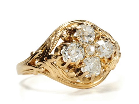 Sensuous Art Nouveau Five Diamond Ring