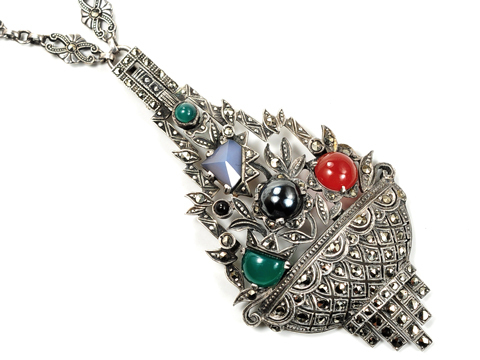 Superb Art Deco Giardinetti Pendant Necklace