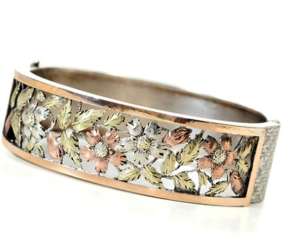 Victorian Aesthetic Period Silver & Gold Bangle