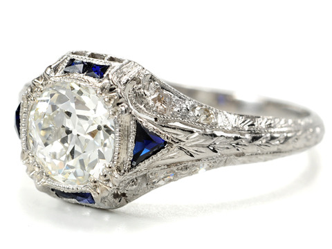 Platinum Prize: Art Deco Diamond Sapphire Ring