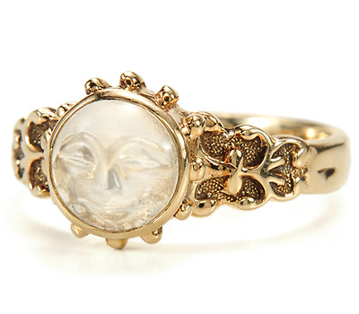 Edwardian Man in the Moon Moonstone Ring