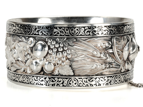 Fecundity -  Magnificent Silver & Enamel Bangle