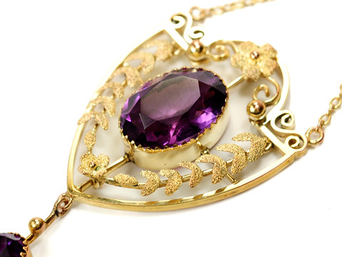 Edwardian Amethyst Pendant Necklace