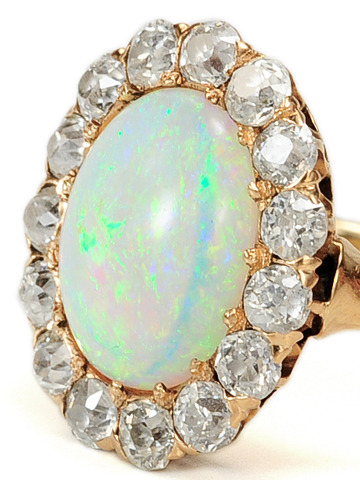 Late Edwardian Diamond & Opal Cluster Ring
