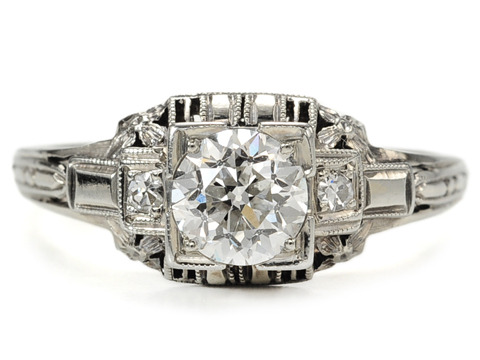 Signed Belais Bros. Art Deco Diamond Ring