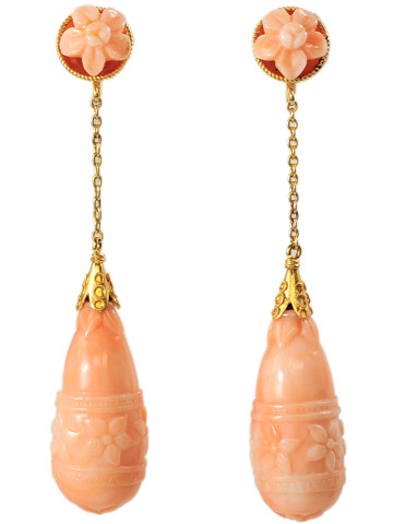 Art Deco Carved Coral Earrings