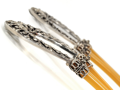 Antique French Silver & Horn Paste-Set Hair Pins