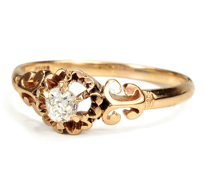 Antique Coronet Mount Diamond Ring