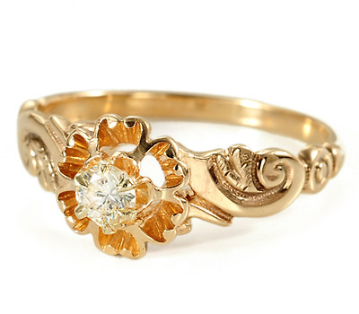 Charmed: Solitaire Diamond in a Floral Ring
