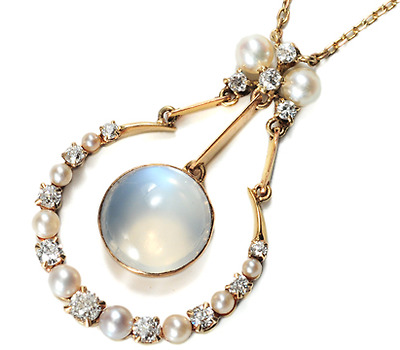 Moon & Moonstones: Edwardian Diamond Pearl Pendant