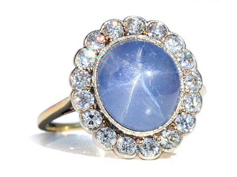 Starry Skies: Edwardian Star Sapphire Diamond Cluster Ring