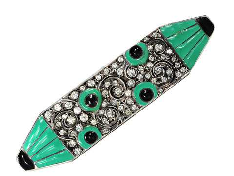 French Art Deco Sterling & Enamel Brooch