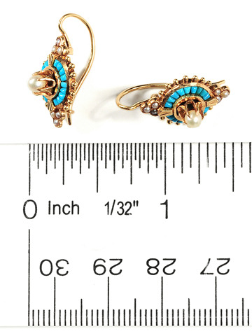 Victorian Pavé Turquoise & Pearl Earrings
