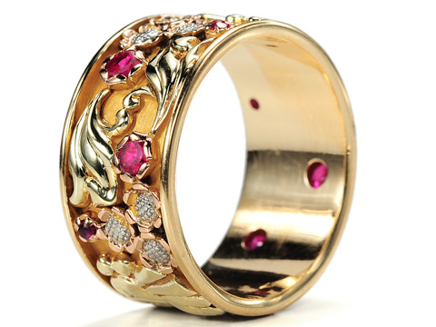 Marvelous Retro Tri Color Gold Eternity Band