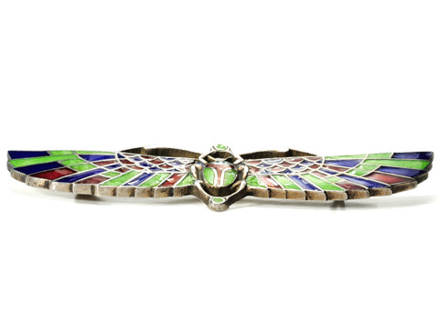 Egyptian Revival  Enamel Scarab Brooch
