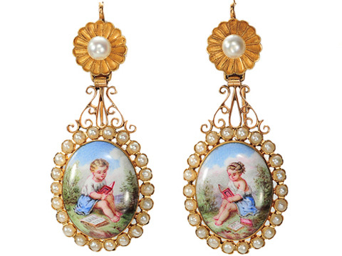19th C. Poetic Enamel Earrings