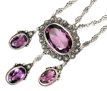 Early 20th C. Amethyst Pendant Necklace