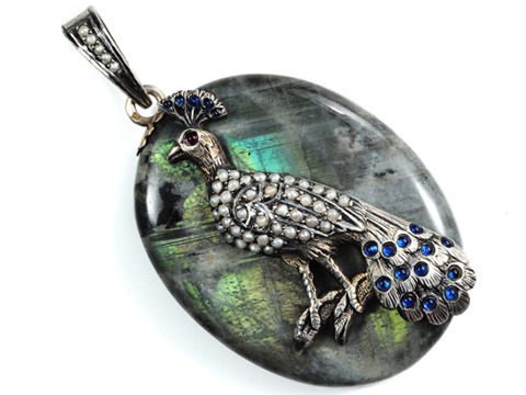 Victorian Peacock Locket Pendant