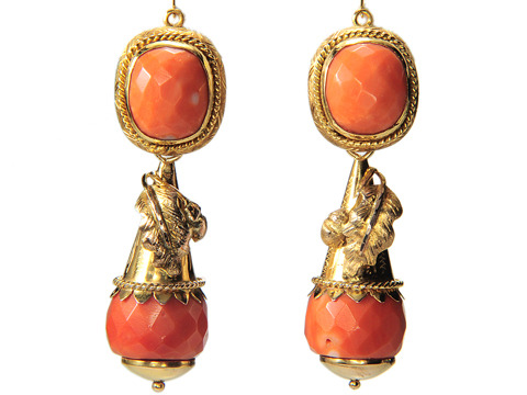 Marvelous Italian Coral Day Night Earrings