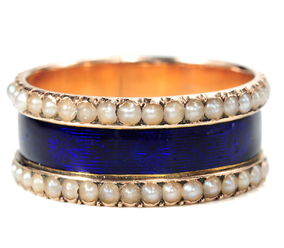 Georgian Midnight Blue Enamel Ring in Box