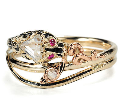 Antique Double Snake Ring with Triangular Diamond