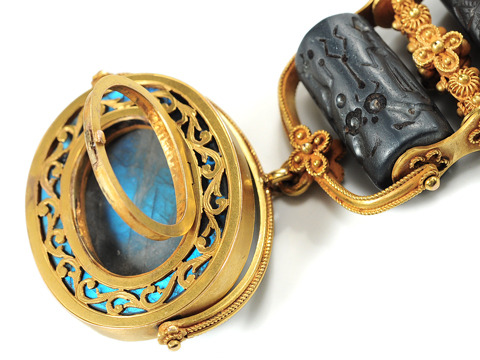 Ancient Luxury: Labradorite Scarab Pendant