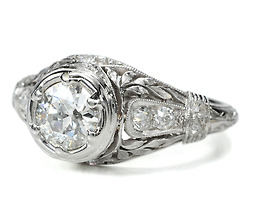 Platinum Leaves: Edwardian Diamond Ring