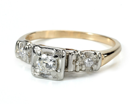 Trio of Diamonds in a 1930s Ring
