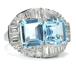 Dazzling Mid 20th C. Aquamarine Diamond Ring