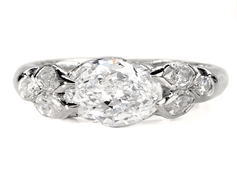 Rare & Fiery 20th C. Oval Diamond Ring