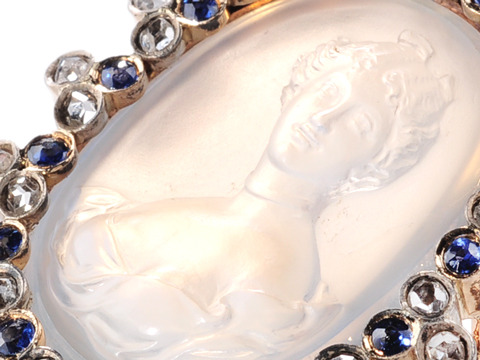Celestial French Diamond & Sapphire Moonstone Brooch