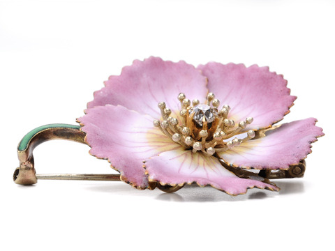 Delicate Edwardian Beauty: Diamond Enamel Brooch