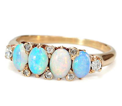 Edwardian Kaleidoscope: Opal & Diamond Ring