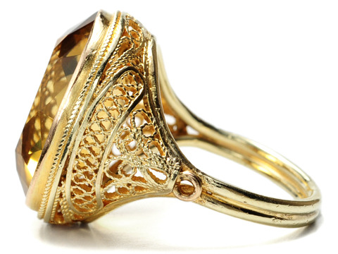 20th C. American Gold in a Citrine Ring