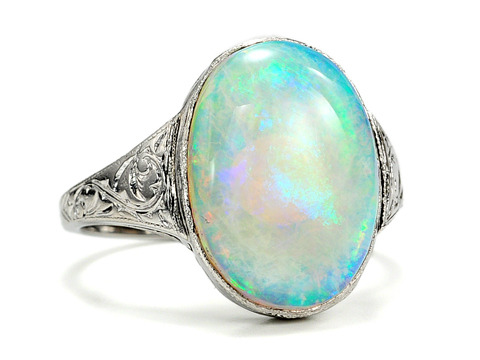 Ocean's Depths - Art Deco Opal Ring