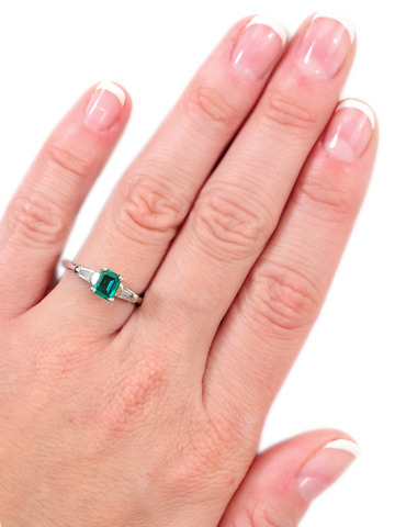 Platinum Emerald Diamond Estate Ring