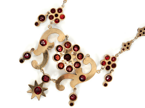 Edwardian Bohemian Garnet Festoon Necklace