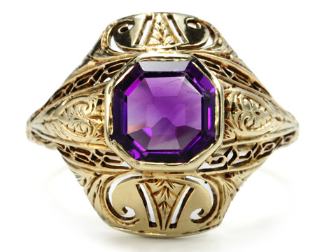 Ornate American Art Deco Amethyst Ring