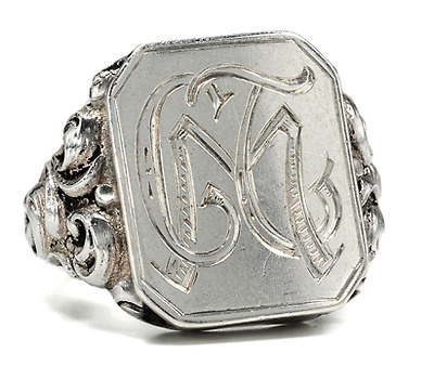 August Antique Silver Signet Ring