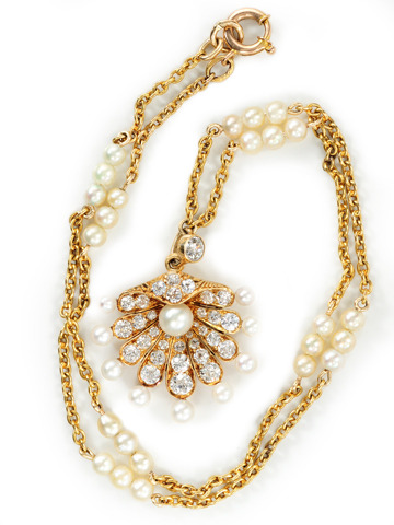 Antique Diamond & Natural Pearl Necklace
