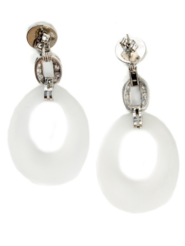 Frosted Rock Crystal & Platinum Earrings