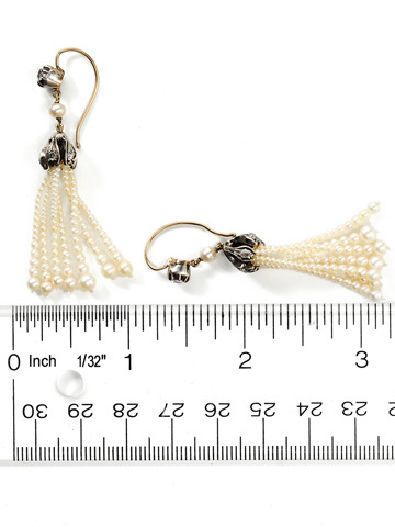 Edwardian Waterfall: Antique Pearl & Diamond Earrings